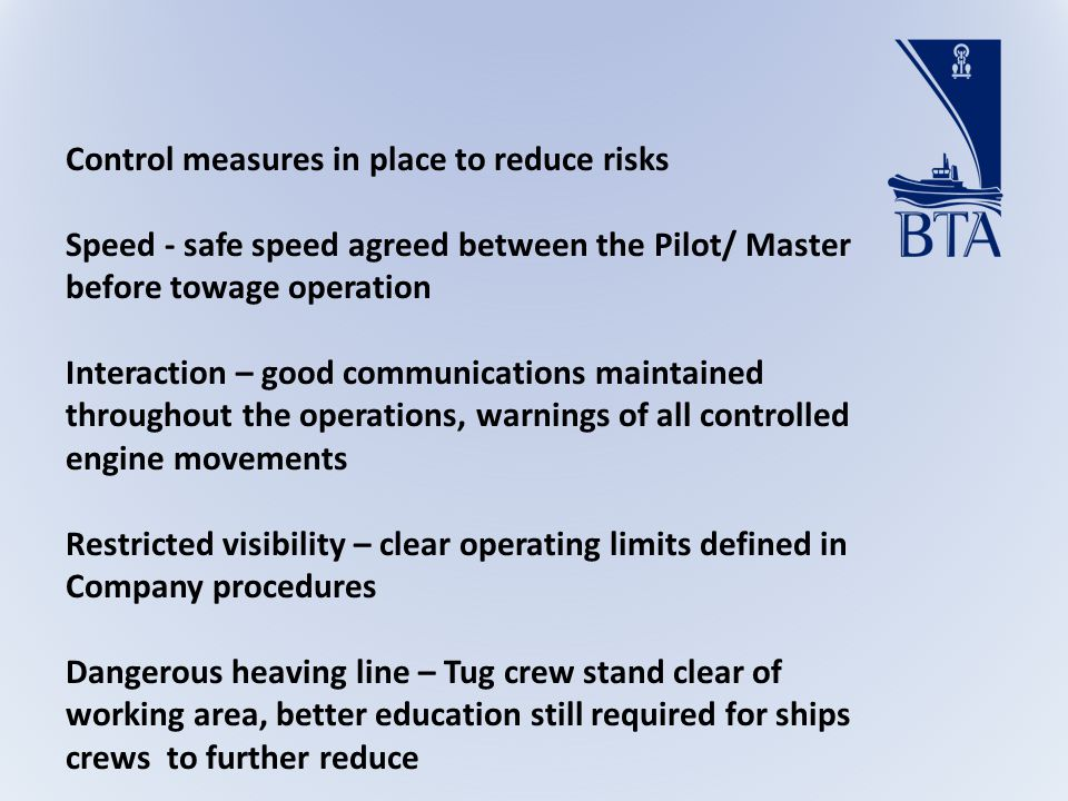 Control measures in place to reduce risks Speed - safe speed agreed between the Pilot/ Master before towage operation Interaction – good communications maintained throughout the operations, warnings of all controlled engine movements Restricted visibility – clear operating limits defined in Company procedures Dangerous heaving line – Tug crew stand clear of working area, better education still required for ships crews to further reduce