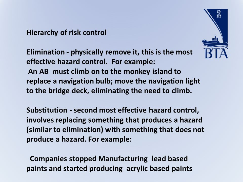 Hierarchy of risk control Elimination - physically remove it, this is the most effective hazard control.