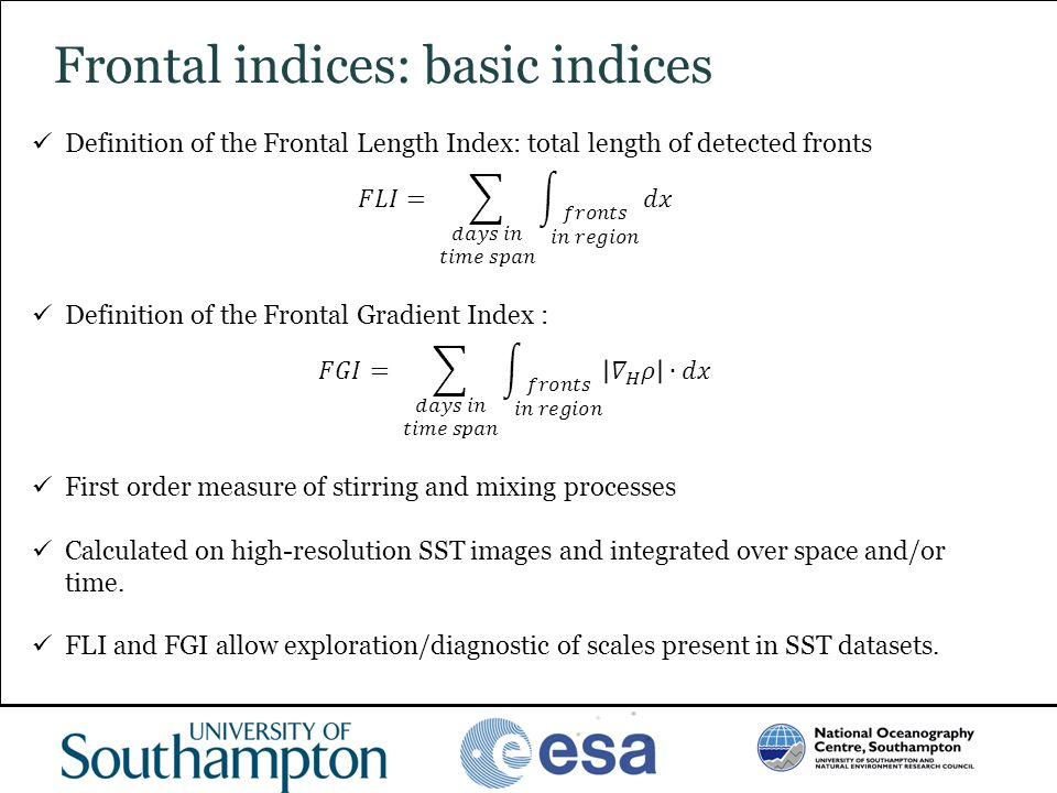 www.oceanography.ac.uk Frontal indices: basic indices