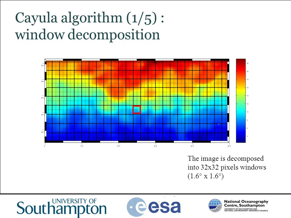 www.oceanography.ac.uk Cayula algorithm (1/5) : window decomposition The image is decomposed into 32x32 pixels windows (1.6° x 1.6°)