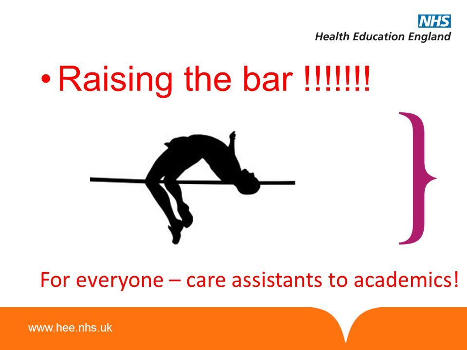 www.hee.nhs.uk Raising the bar !!!!!!! For everyone – care assistants to academics!
