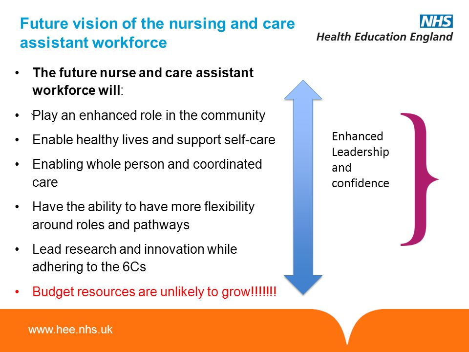 www.hee.nhs.uk Future vision of the nursing and care assistant workforce ` The future nurse and care assistant workforce will: Play an enhanced role i