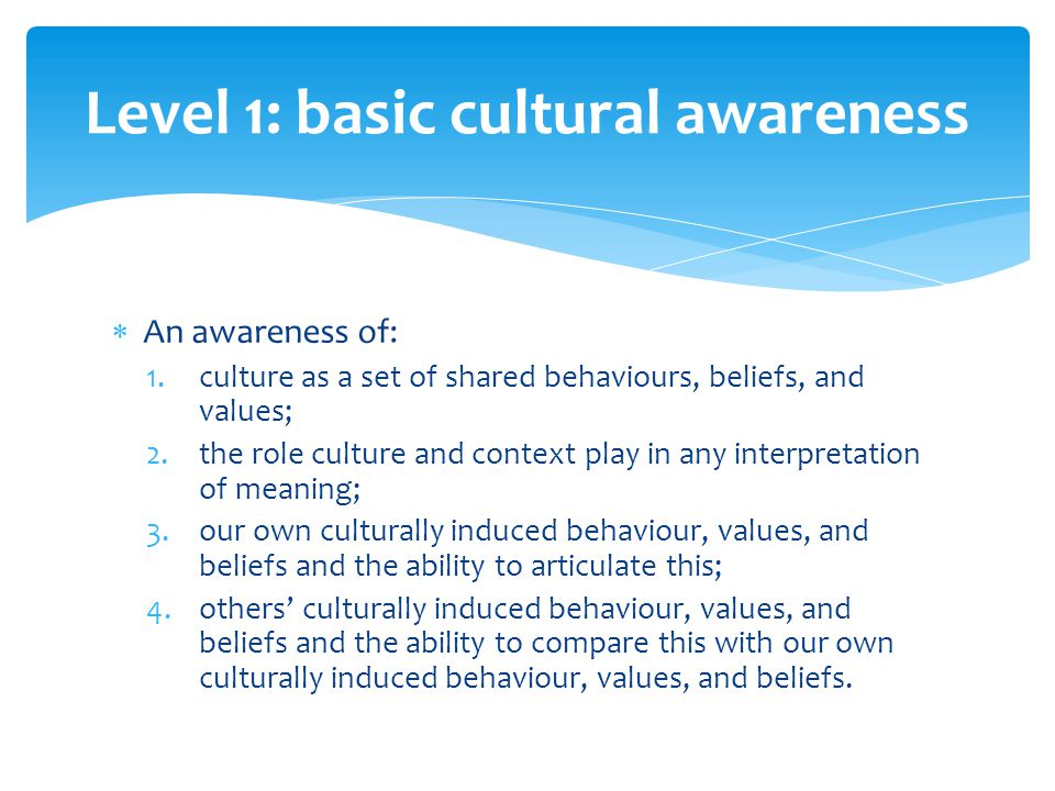  An awareness of: 1.culture as a set of shared behaviours, beliefs, and values; 2.the role culture and context play in any interpretation of meaning; 3.our own culturally induced behaviour, values, and beliefs and the ability to articulate this; 4.others' culturally induced behaviour, values, and beliefs and the ability to compare this with our own culturally induced behaviour, values, and beliefs.