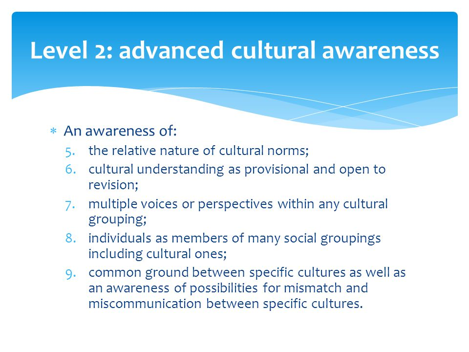  An awareness of: 5.the relative nature of cultural norms; 6.cultural understanding as provisional and open to revision; 7.multiple voices or perspectives within any cultural grouping; 8.individuals as members of many social groupings including cultural ones; 9.common ground between specific cultures as well as an awareness of possibilities for mismatch and miscommunication between specific cultures.