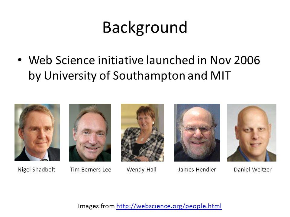 More Resources Video: Nigel Shadbolt on Web Science (2008) http://webscience.org/webscience.html http://webscience.org/webscience.html Slides: What is Web Science? by Carr, Pope, Hall, Shadbolt (2008) http://www.slideshare.net/lescarr/what-is- web-science http://www.slideshare.net/lescarr/what-is- web-science