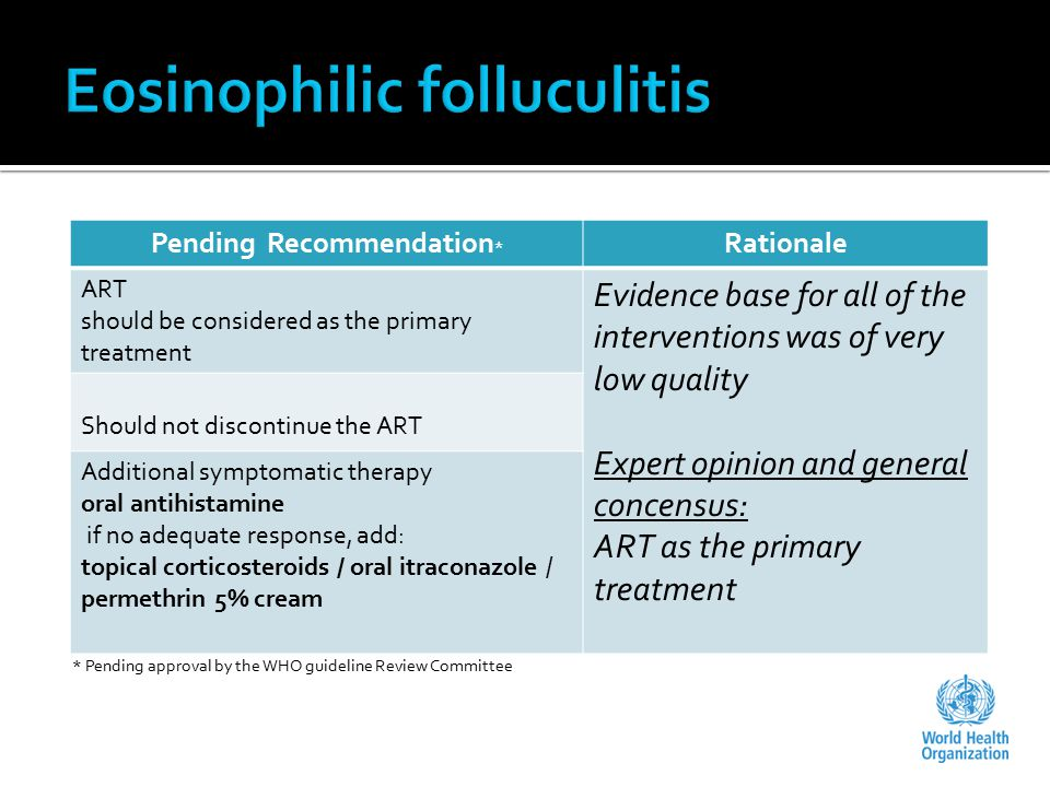Pending Recommendation * Rationale ART should be considered as the primary treatment Evidence base for all of the interventions was of very low quality Expert opinion and general concensus: ART as the primary treatment Should not discontinue the ART Additional symptomatic therapy oral antihistamine if no adequate response, add: topical corticosteroids / oral itraconazole / permethrin 5% cream * Pending approval by the WHO guideline Review Committee