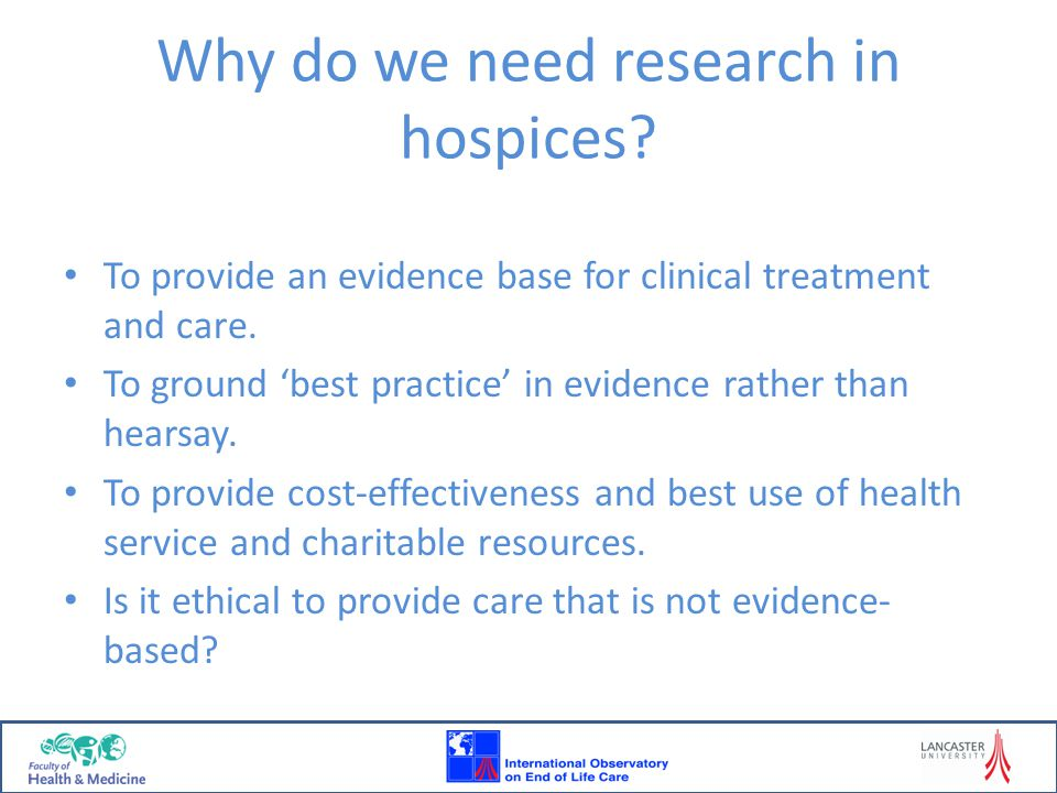 Initiating own research Only 29 hospices (25%) had initiated their own research during the last year