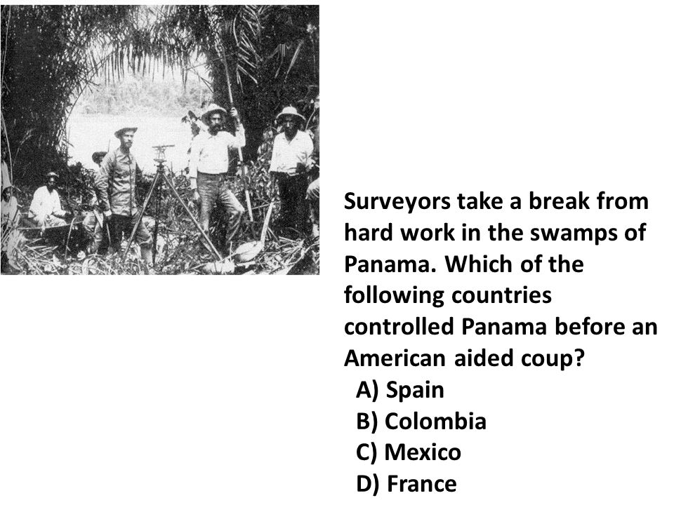Surveyors take a break from hard work in the swamps of Panama.