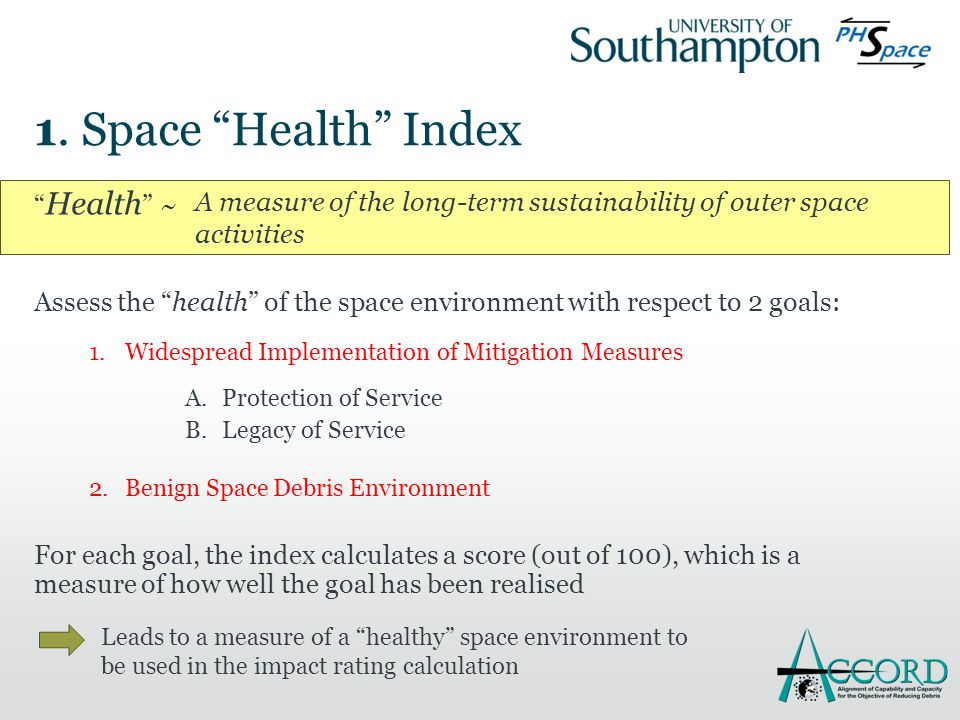""""""" Health """" ~ Assess the """"health"""" of the space environment with respect to 2 goals: 1.Widespread Implementation of Mitigation Measures A.Protection of"""