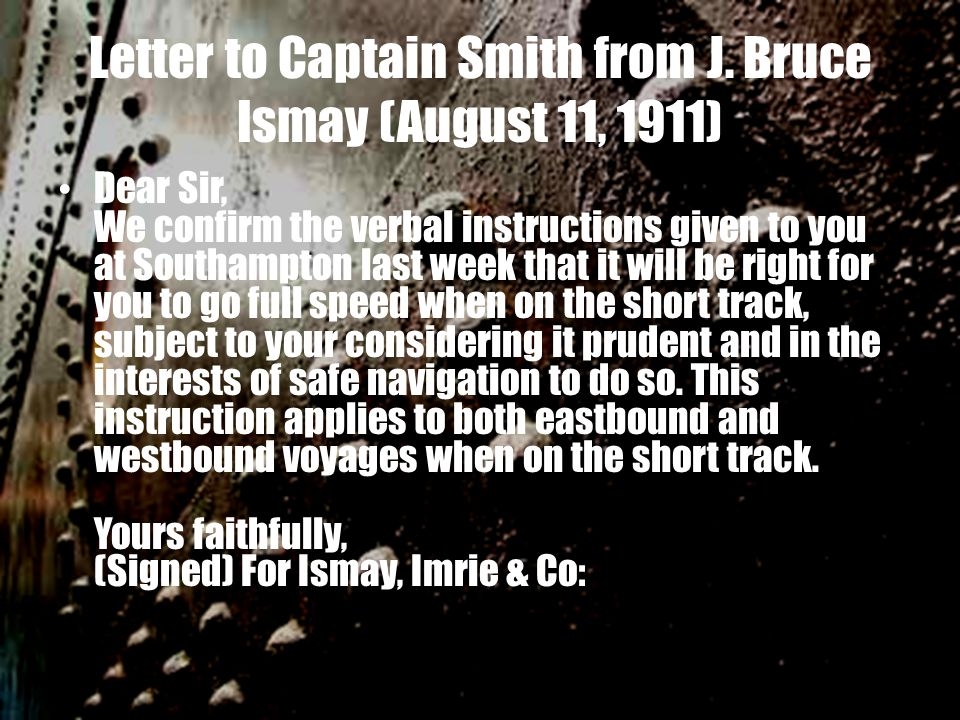 Letter to Captain Smith from J.
