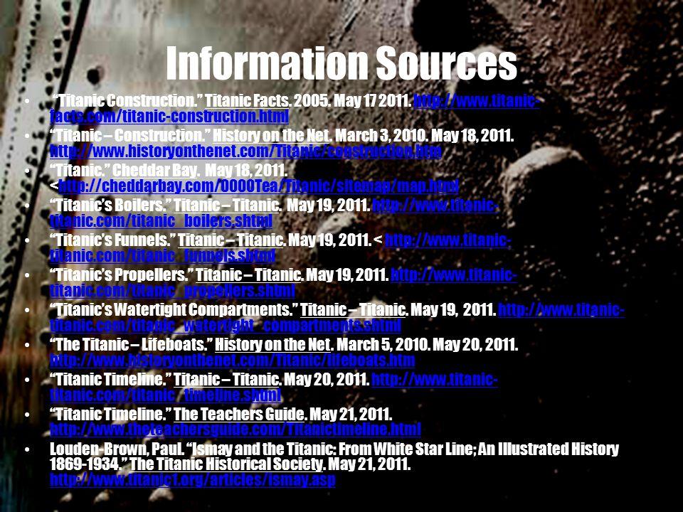 Information Sources Titanic Construction. Titanic Facts.