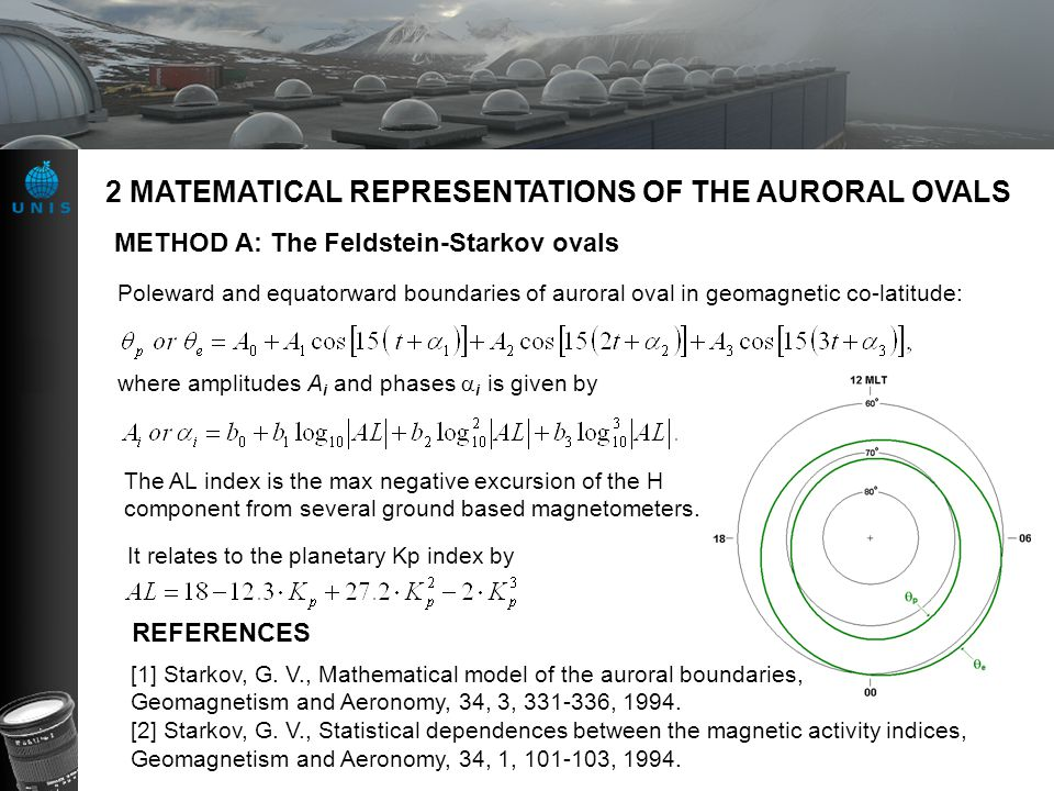 2 MATEMATICAL REPRESENTATIONS OF THE AURORAL OVALS METHOD A: The Feldstein-Starkov ovals REFERENCES [1] Starkov, G.