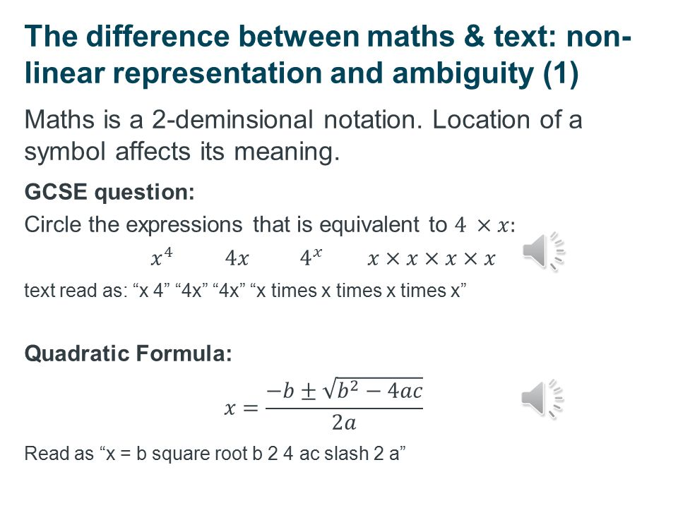 Accessibility barriers to maths notation