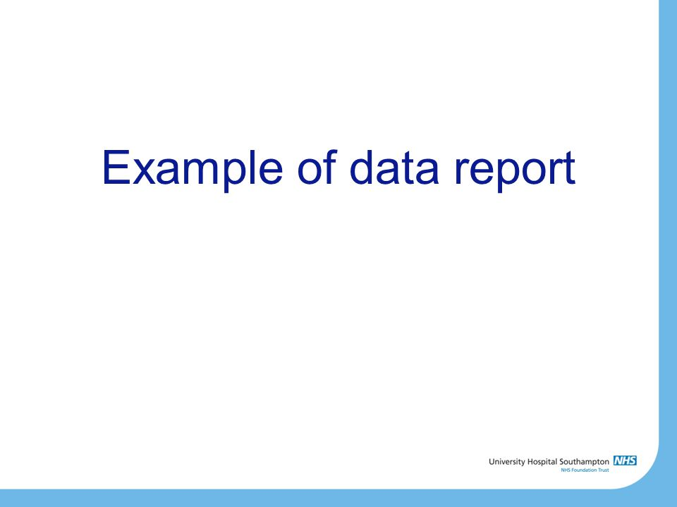 Example of data report