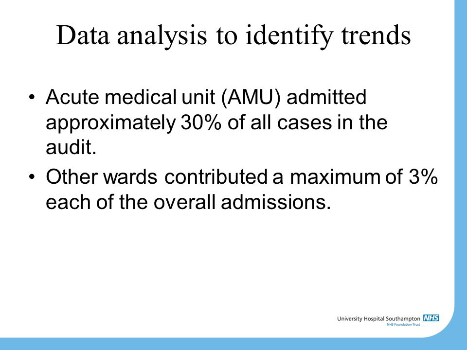 Data analysis to identify trends Acute medical unit (AMU) admitted approximately 30% of all cases in the audit.