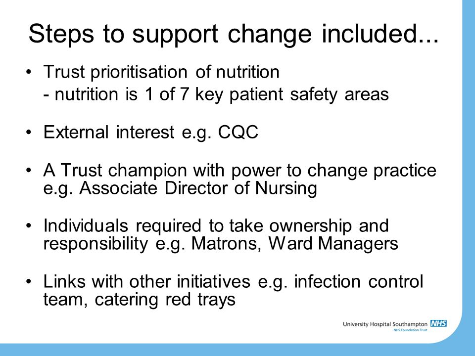 Steps to support change included...