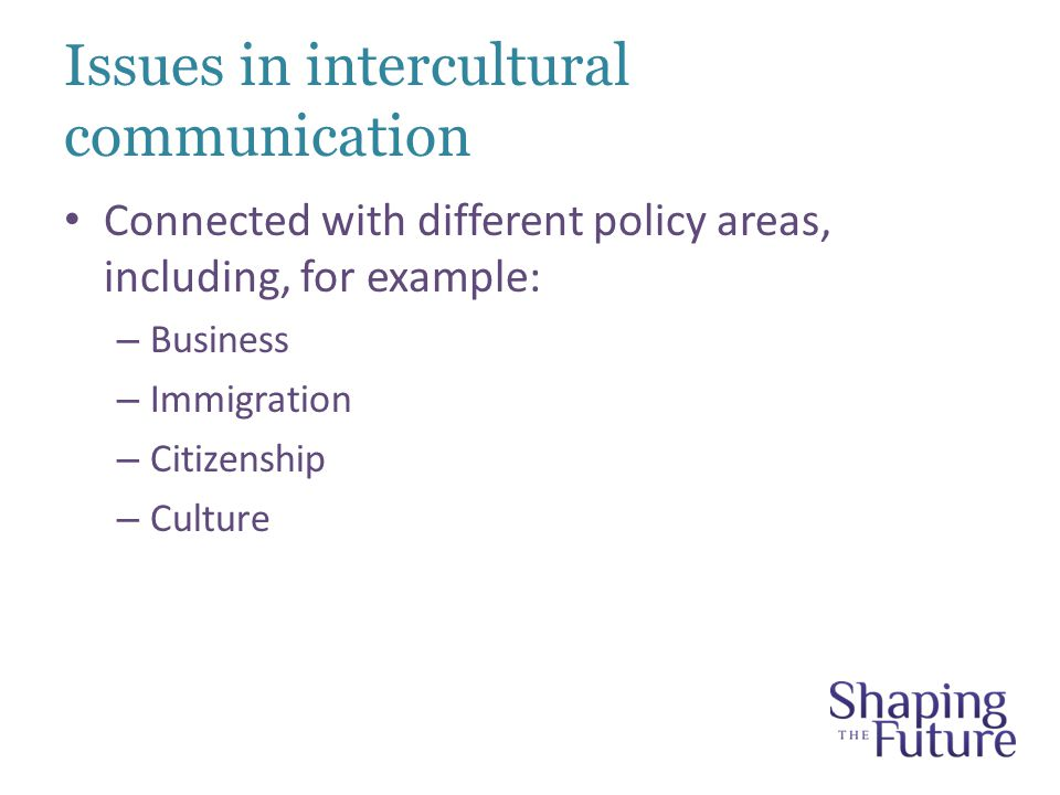 Issues in intercultural communication Connected with different policy areas, including, for example: – Business – Immigration – Citizenship – Culture
