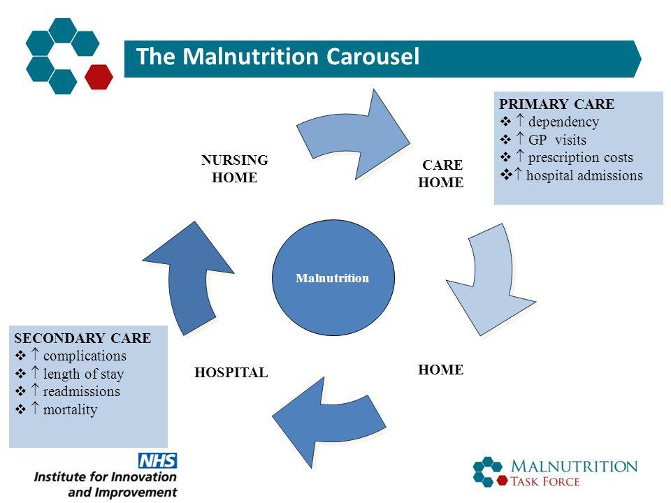 The Malnutrition Carousel HOSPITAL NURSING HOME CARE HOME Malnutrition PRIMARY CARE   dependency   GP visits   prescription costs   hospital a