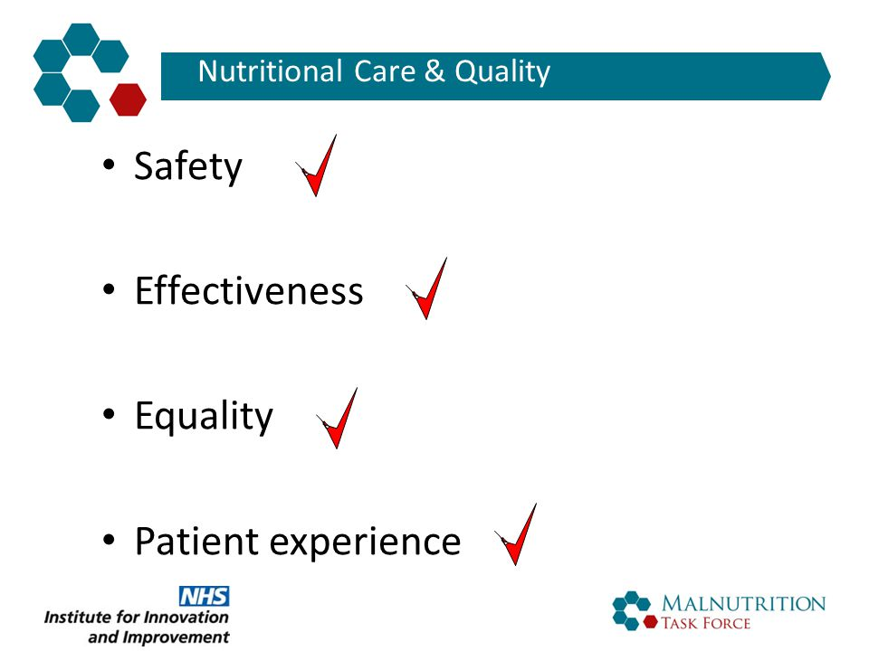 Nutritional Care & Quality Safety Effectiveness Equality Patient experience