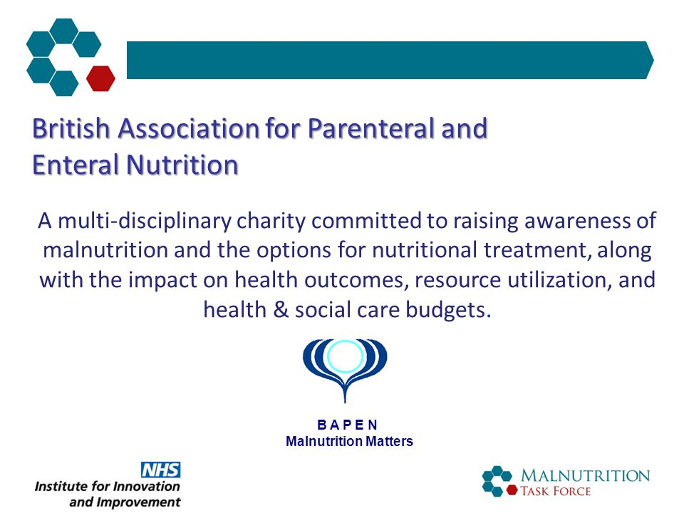 The Malnutrition Carousel HOSPITAL NURSING HOME CARE HOME Malnutrition PRIMARY CARE   dependency   GP visits   prescription costs   hospital admissions SECONDARY CARE   complications   length of stay   readmissions   mortality