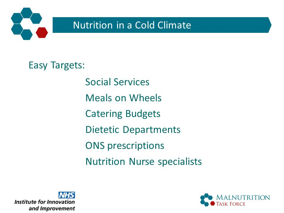 BAPEN Chair Nutrition in a Cold Climate Easy Targets: Social Services Meals on Wheels Catering Budgets Dietetic Departments ONS prescriptions Nutritio