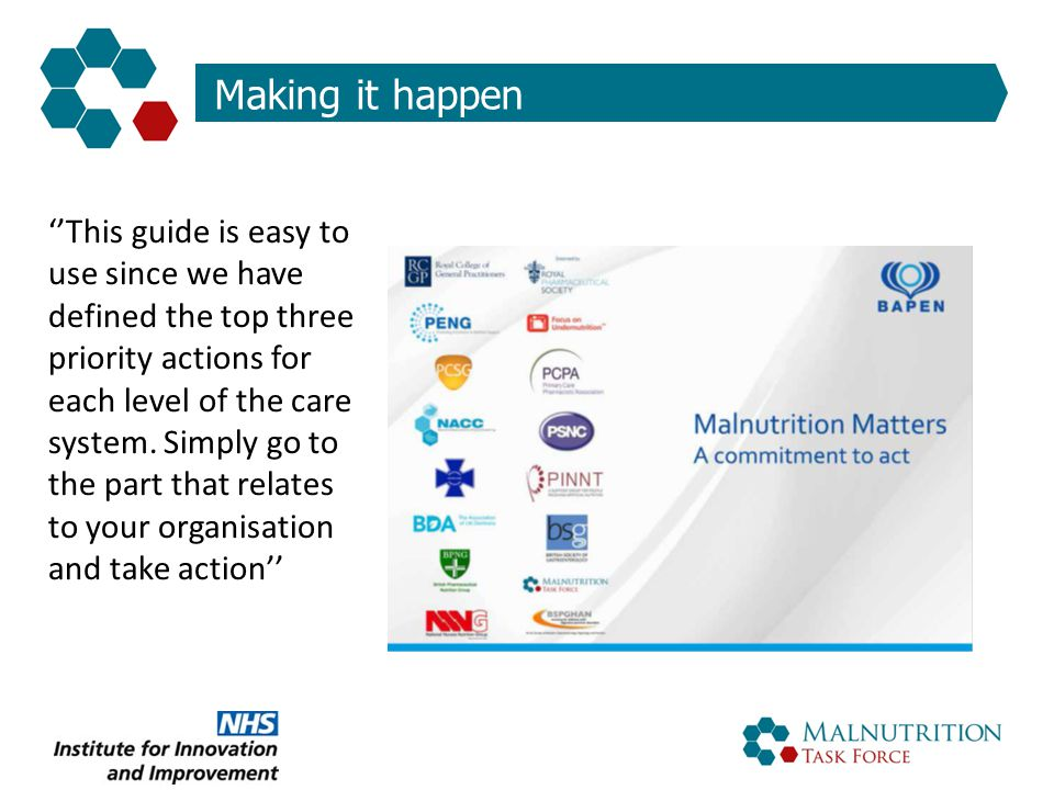 Making it happen ''This guide is easy to use since we have defined the top three priority actions for each level of the care system. Simply go to the