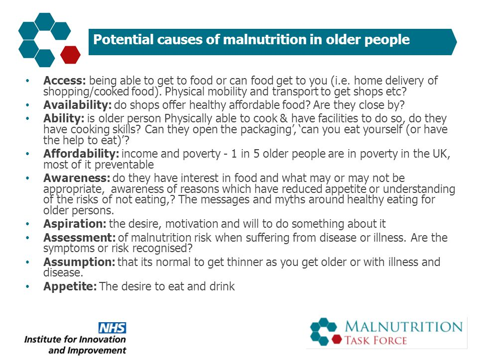 Inadequate food intake is common in hospital European Nutrition Day survey* found that of patients aged >75 years only 1 : – 46% ate all of breakfast – 34% ate all of lunch – 35% ate all of dinner Older inpatients in a hospital elderly care unit in the UK were judged to be eating inadequately at only 67% of assessments 2 * 748 units in 25 countries, total n=16455, aged >75 years n=4799.