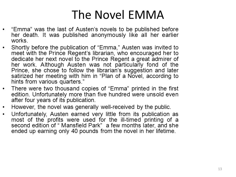 "The Novel EMMA ""Emma"" was the last of Austen's novels to be published before her death. It was published anonymously like all her earlier works. Short"