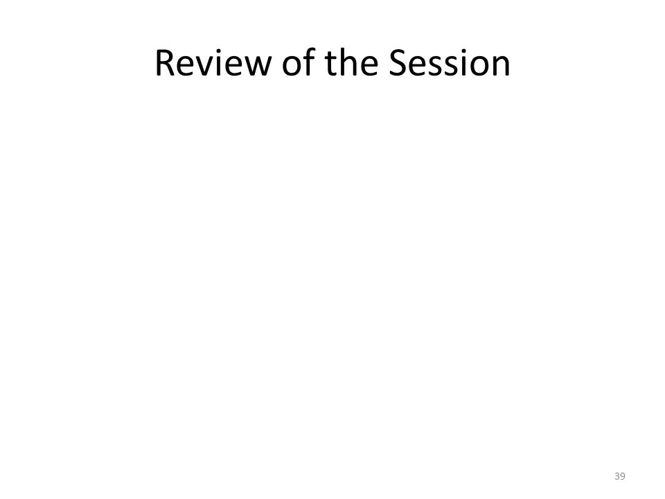 Review of the Session 39