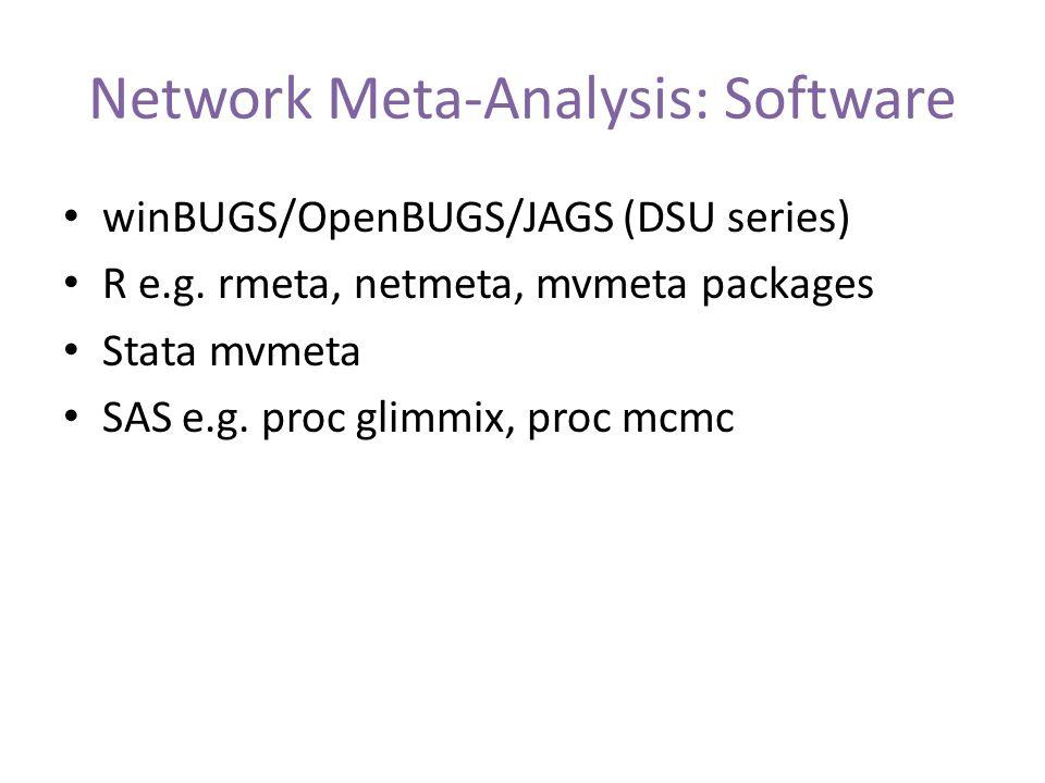 Network Meta-Analysis: Software winBUGS/OpenBUGS/JAGS (DSU series) R e.g.