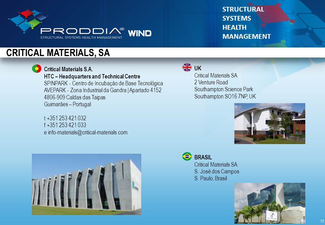 © 2010 Critical Materials STRUCTURAL SYSTEMS HEALTH MANAGEMENT Critical Materials S.A.
