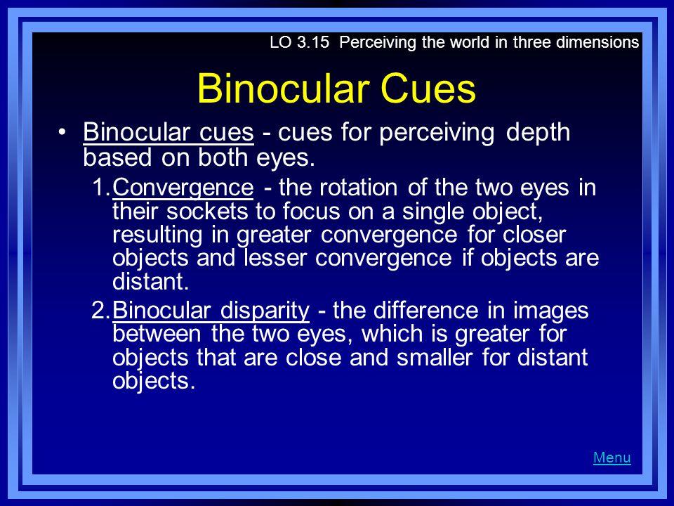 Binocular Cues Binocular cues - cues for perceiving depth based on both eyes.