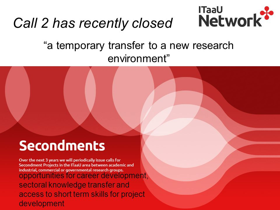 a temporary transfer to a new research environment opportunities for career development, sectoral knowledge transfer and access to short term skills for project development Call 2 has recently closed