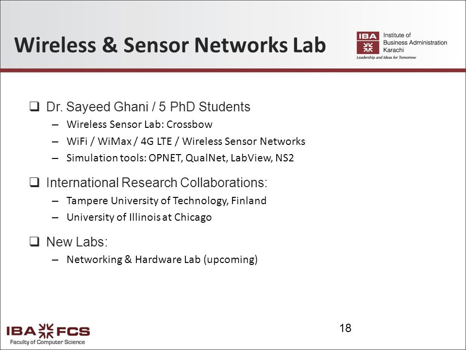 Wireless & Sensor Networks Lab  Dr.