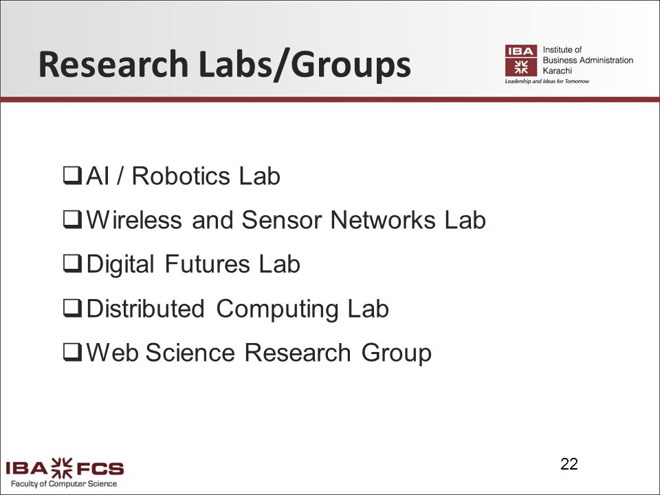 22 Research Labs/Groups  AI / Robotics Lab  Wireless and Sensor Networks Lab  Digital Futures Lab  Distributed Computing Lab  Web Science Research Group