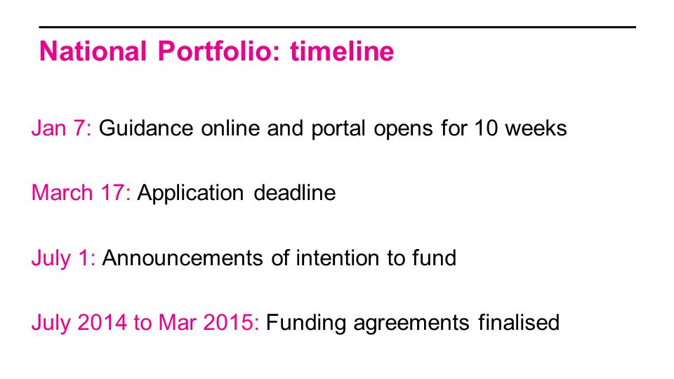 National Portfolio: timeline Jan 7: Guidance online and portal opens for 10 weeks March 17: Application deadline July 1: Announcements of intention to fund July 2014 to Mar 2015: Funding agreements finalised