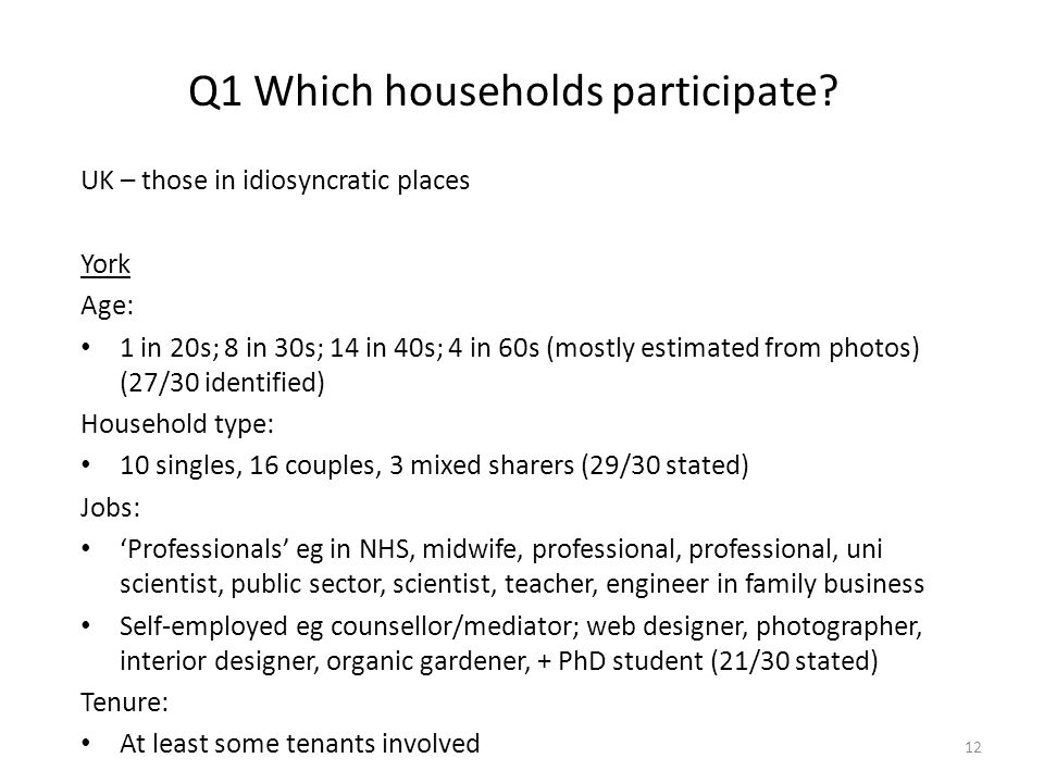 Q1 Which households participate.