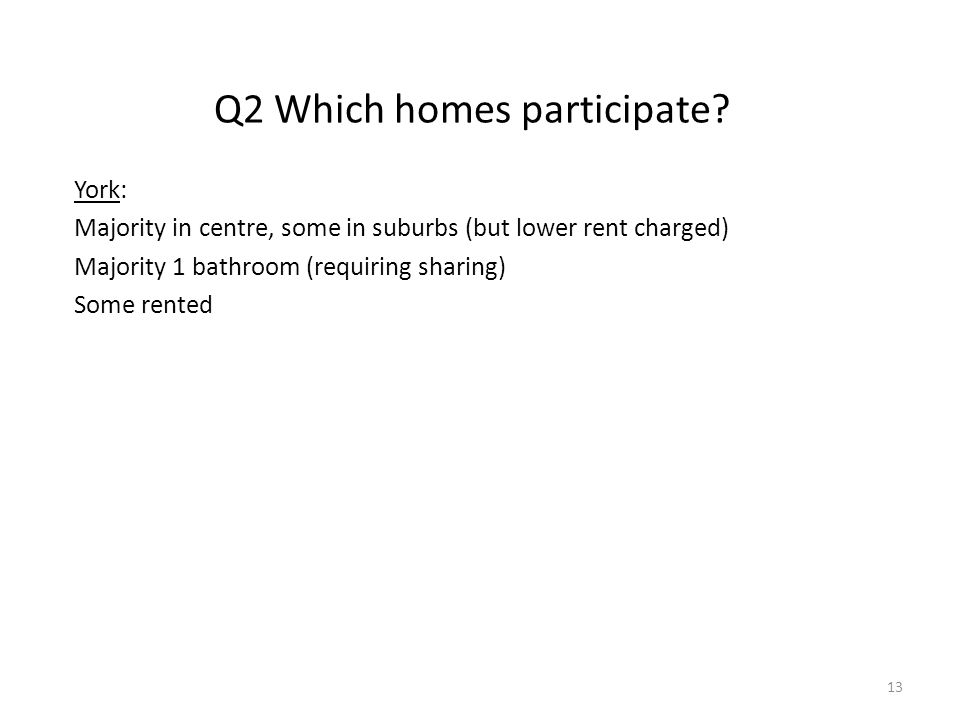 Q2 Which homes participate.