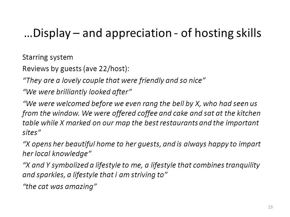 …Display – and appreciation - of hosting skills Starring system Reviews by guests (ave 22/host): They are a lovely couple that were friendly and so nice We were brilliantly looked after We were welcomed before we even rang the bell by X, who had seen us from the window.