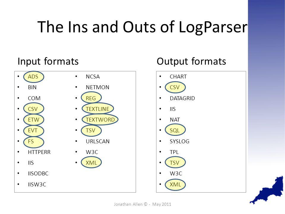 The Ins and Outs of LogParser ADS BIN COM CSV ETW EVT FS HTTPERR IIS IISODBC IISW3C NCSA NETMON REG TEXTLINE TEXTWORD TSV URLSCAN W3C XML Jonathan Allen © - May 2011 CHART CSV DATAGRID IIS NAT SQL SYSLOG TPL TSV W3C XML Input formatsOutput formats