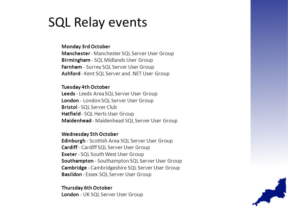 Monday 3rd October Manchester - Manchester SQL Server User Group Birmingham - SQL Midlands User Group Farnham - Surrey SQL Server User Group Ashford - Kent SQL Server and.NET User Group Tuesday 4th October Leeds - Leeds Area SQL Server User Group London - London SQL Server User Group Bristol - SQL Server Club Hatfield - SQL Herts User Group Maidenhead - Maidenhead SQL Server User Group Wednesday 5th October Edinburgh - Scottish Area SQL Server User Group Cardiff - Cardiff SQL Server User Group Exeter - SQL South West User Group Southampton - Southampton SQL Server User Group Cambridge - Cambridgeshire SQL Server User Group Basildon - Essex SQL Server User Group Thursday 6th October London - UK SQL Server User Group SQL Relay events