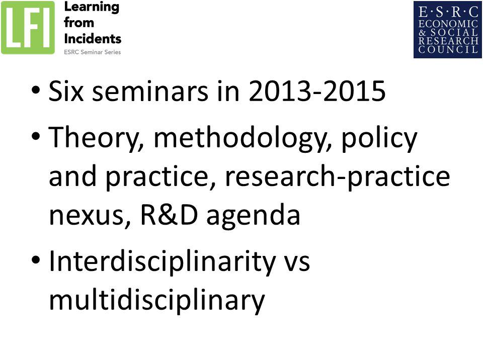 Six seminars in 2013-2015 Theory, methodology, policy and practice, research-practice nexus, R&D agenda Interdisciplinarity vs multidisciplinary
