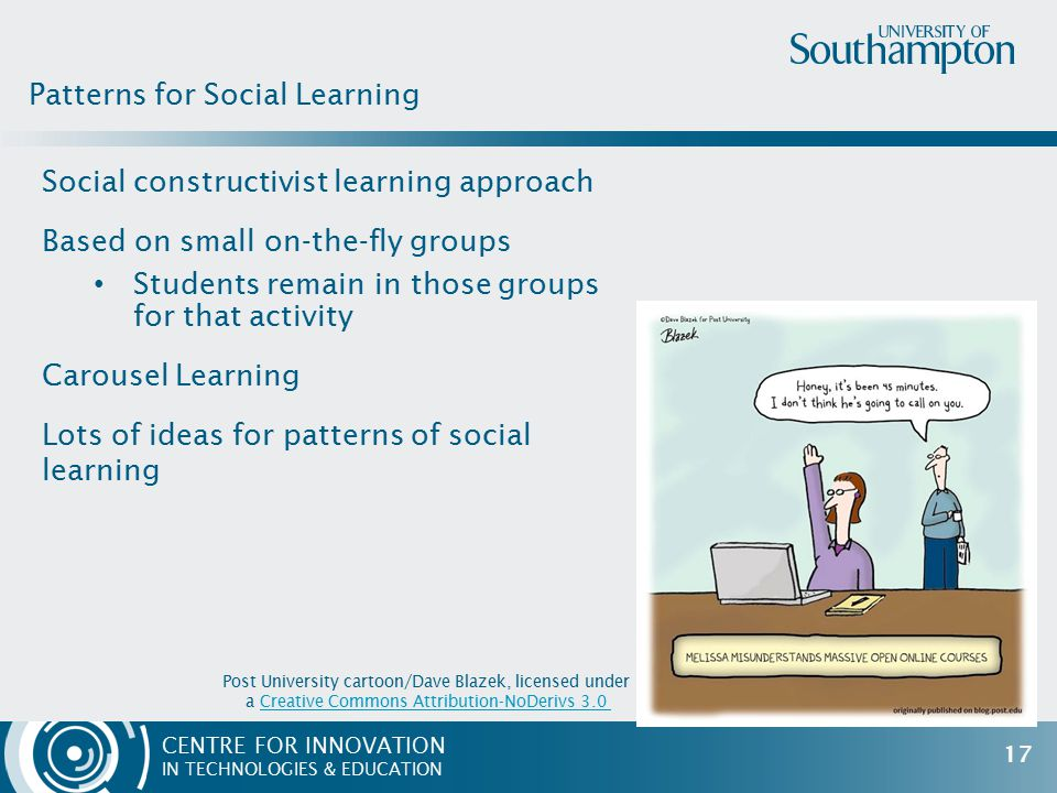 CENTRE FOR INNOVATION IN TECHNOLOGIES & EDUCATION Social constructivist learning approach Based on small on-the-fly groups Students remain in those groups for that activity Carousel Learning Lots of ideas for patterns of social learning Patterns for Social Learning Post University cartoon/Dave Blazek, licensed under a Creative Commons Attribution-NoDerivs 3.0Creative Commons Attribution-NoDerivs 3.0 17