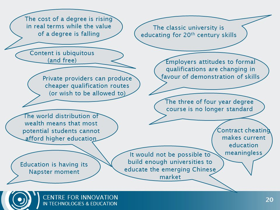 CENTRE FOR INNOVATION IN TECHNOLOGIES & EDUCATION 20 The cost of a degree is rising in real terms while the value of a degree is falling Content is ubiquitous (and free) Private providers can produce cheaper qualification routes (or wish to be allowed to) The world distribution of wealth means that most potential students cannot afford higher education It would not be possible to build enough universities to educate the emerging Chinese market The classic university is educating for 20 th century skills Employers attitudes to formal qualifications are changing in favour of demonstration of skills The three of four year degree course is no longer standard Education is having its Napster moment Contract cheating makes current education meaningless