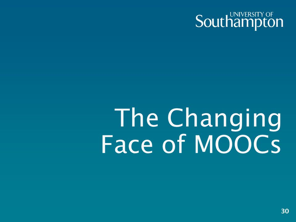 The Changing Face of MOOCs 30