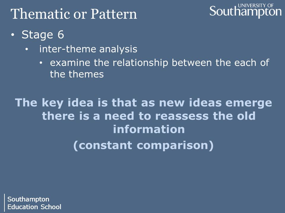 Southampton Education School Southampton Education School Thematic or Pattern Stage 6 inter-theme analysis examine the relationship between the each of the themes The key idea is that as new ideas emerge there is a need to reassess the old information (constant comparison)
