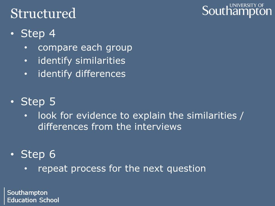 Southampton Education School Southampton Education School Structured Step 4 compare each group identify similarities identify differences Step 5 look