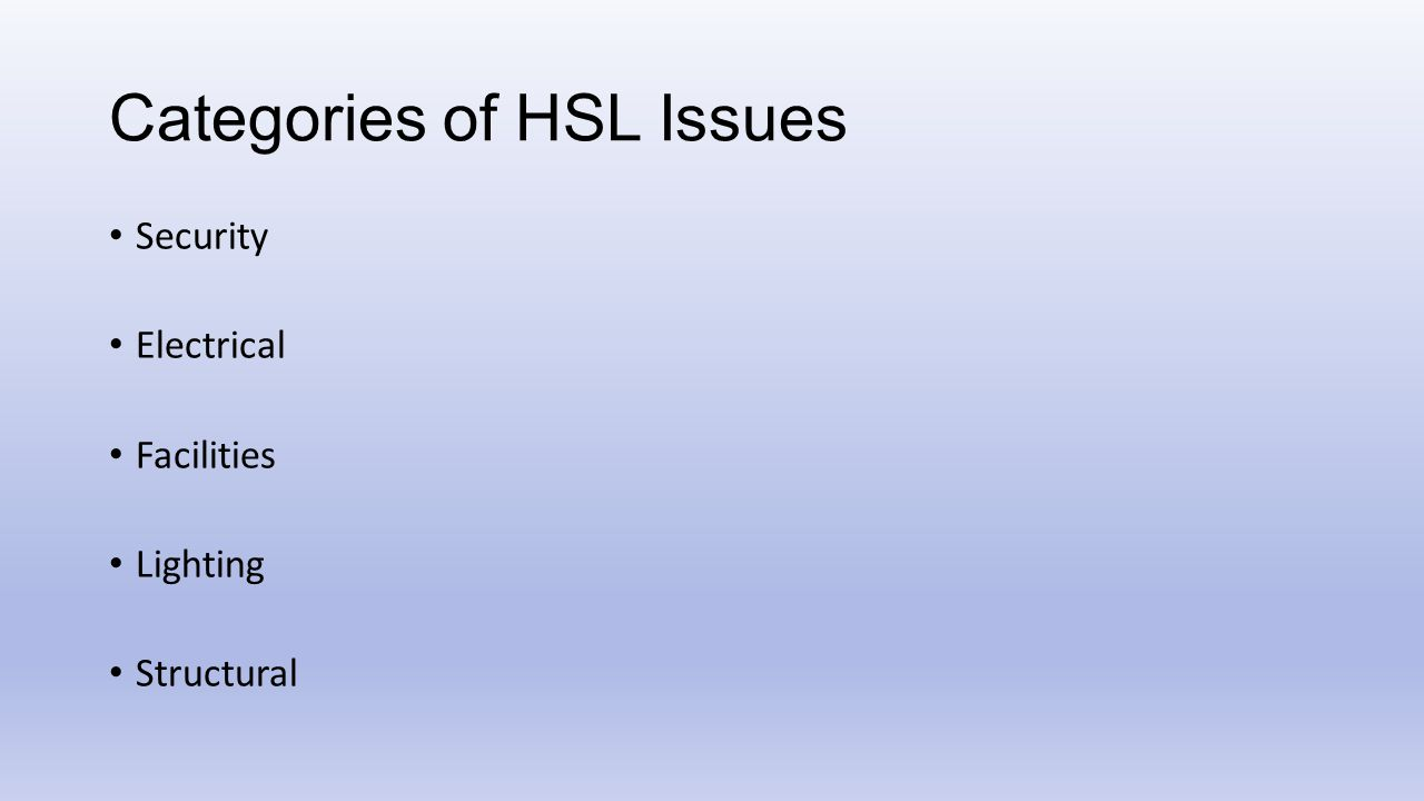 Categories of HSL Issues Security Electrical Facilities Lighting Structural
