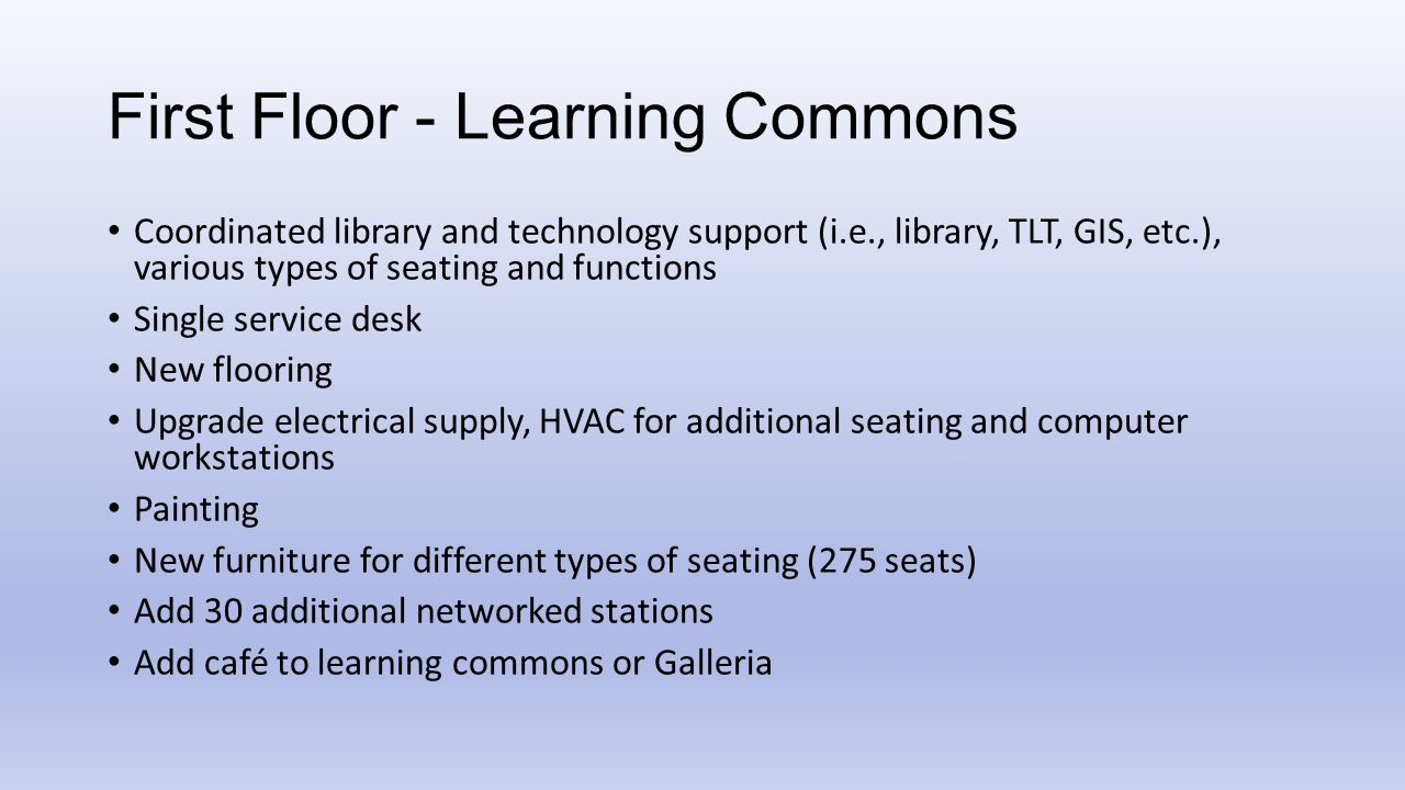 First Floor - Learning Commons Coordinated library and technology support (i.e., library, TLT, GIS, etc.), various types of seating and functions Sing