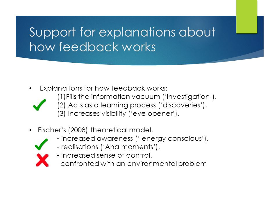 Support for explanations about how feedback works Explanations for how feedback works: (1)Fills the information vacuum ('investigation').